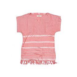 Ružová plážová tunika z bavlny a bambusu Begonville Belarosa