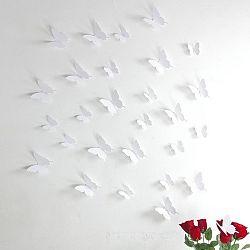 Sada 12 bielych samolepiek s 3D efektom Ambiance Butterflies