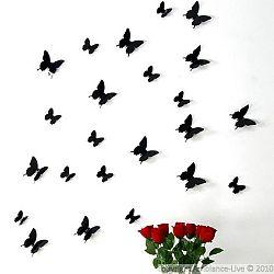 Sada 12 čiernych 3D samolepiek Ambiance Black Butterflies