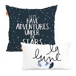 Sada 2 bavlnených obliečok na vankúš Blanc Constellation, 50×50 cm