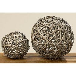 Sada 2 dekorácií z vrvbového dreva Boltze Balls