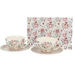 Sada 2 porcelánových šálok Duo Gift Ružička, 250 ml