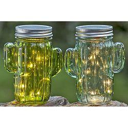 Sada 2 sklenených nádob s viečkom v tvare kaktusu Boltz