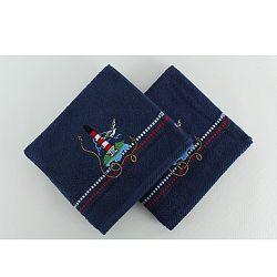 Sada 2 tmavomodrých bavlnených osušiek Marina Denis, 50×90 cm