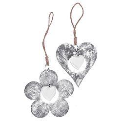 Sada 2 závesných dekorácií v motíve srdca a kvetiny Ego Dekor, ⌀11 cm