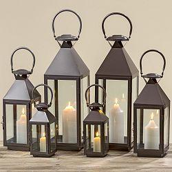 Sada 3 čiernych lampášov z kovu a skla Boltz
