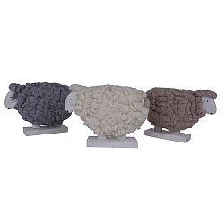 Sada 3 dekorácií z vlny a dreva v tvare ovce Ego Dekor, 25 x 16 cm