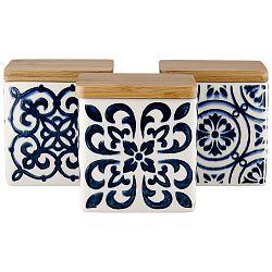 Sada 3 keramických dóz na potraviny s bambusovým viečkom a modrým vzorom Ladelle Coventry