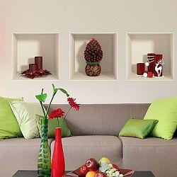 Sada 3 vianočných samolepiek s 3D efektom Fanastick Red Candles and Christmas Tree