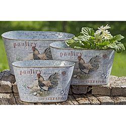 Sada 3 záhradných kovových kvetináčov Boltze Poultry