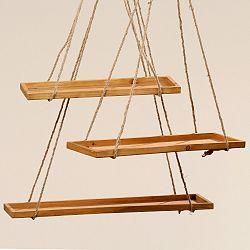 Sada 3 závesných dekorácií z dreva Boltze Swing
