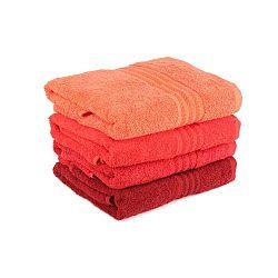 Sada 4 červených bavlnených uterákov Rainbow, 50×90cm