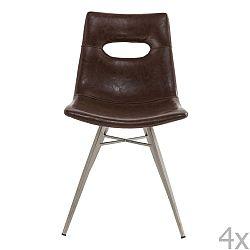 Sada 4 tmavohnedých stoličiek Kare Design Venice