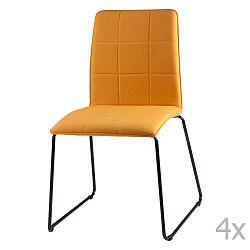 Sada 4 žltých jedálenských stoličiek sømcasa Malina