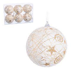 Sada 6 bielo-zlatých vianočných gúľ Unimasa, 8 x 8 x 8 cm