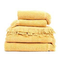 Set 2 žltých bavlnených osušiek a 6 uterákov Casa Di Bassi Sun