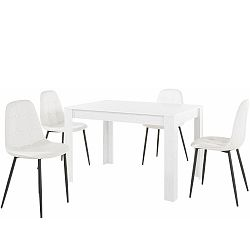 Set bieleho jedálenského stola a 4 bielych jedálenských stoličiek Støraa Lori Lamar