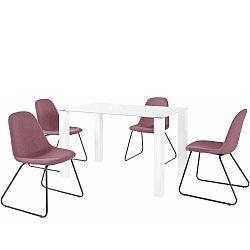 Set bieleho jedálenského stola a 4 červených jedálenských stoličiek Støraa Dante Colombo