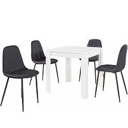 Set bieleho jedálenského stola a 4 čiernych jedálenských stoličiek Støraa Lori Lamar Duro