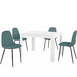 Set bieleho jedálenského stola a 4 modrých jedálenských stoličiek Støraa Lori Lamar