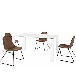 Set bieleho jedálenského stola a 4 tmavohnedých jedálenských stoličiek Støraa Dante Colombo Duro