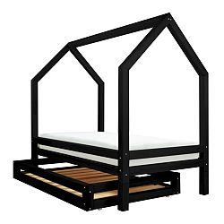 Set čiernej zásuvky a 4 prídavných nôh k posteli Benlemi Funny, 80 x 160 cm