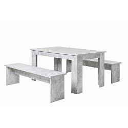 Set jedálenského stola a 2 lavíc v betónovom dekore Intertrade Munich, 90×160 cm