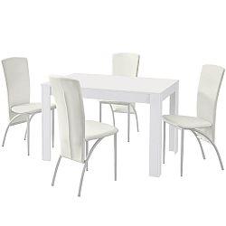 Set jedálenského stola a 4 bielych jedálenských stoličiek Støraa Lori Nevada Puro White