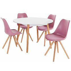 Set jedálenského stola a 4 ružových jedálenských stoličiek Støraa Oregon Brenda