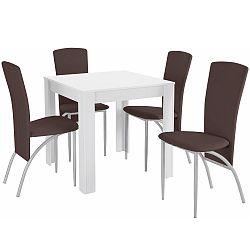 Set jedálenského stola a 4 tmavohnedých jedálenských stoličiek Støraa Lori Nevada Duro White Brown