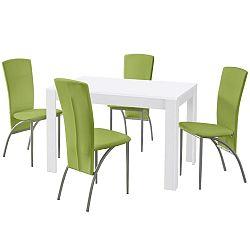 Set jedálenského stola a 4 zelených jedálenských stoličiek Støraa Lori Nevada White Green
