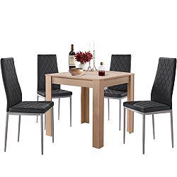 Set jedálenského stola v dubovom dekore a 4 čiernych jedálenských stoličiek Støraa Lori and Barak, 80 x 80 cm