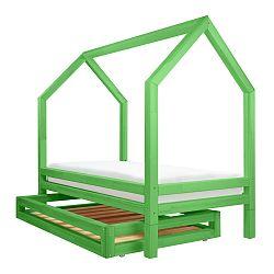 Set zelenej zásuvky a 4 prídavných nôh k posteli Benlemi Funny, 90 x 180 cm