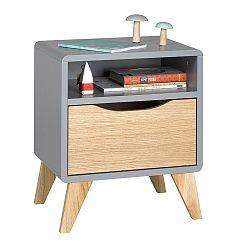 Sivo-hnedý nočný stolík so zásuvkou JUNIIOR Provence Oskar