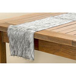 Sivý chlpatý behúň na stôl Boltze, dĺžka 120 cm