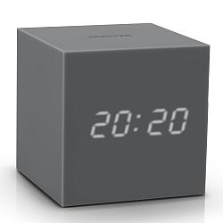 Sivý LED budík Gingko Gravitry Cube