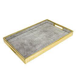 Sivý podnos s detailmi v zlatej farbe Santiago Pons Pearl