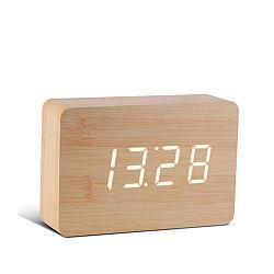 Svetlohnedý budík s bielym LED displejom Gingko Brick Click Clock