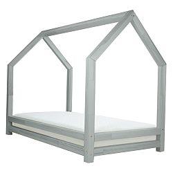Svetlosivá jednolôžková posteľ z borovicového dreva Benlemi Funny, 90 x 200 cm
