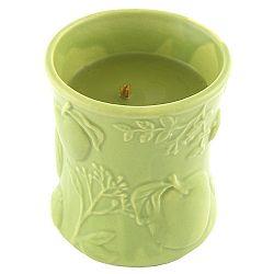 Sviečka s vôňou ovocia a kvetín v keramickom svietniku Woodwick Košík jabĺk, doba horenia 40 hodín