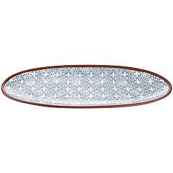 Terakotový oválny servírovací tanier s modrým vzorom Ladelle Tapas, dĺžka 48 cm