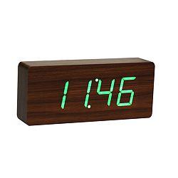 Tmavohnedý budík so zeleným LED displejem Gingko Slab Click Clock