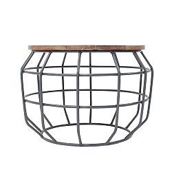 Tmavosivý príručný stolík s doskou z mangového dreva LABEL51 Pixel, Ø56 cm