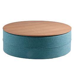 Tyrkysový odkladací stolík sdoskou vdekore dubového dreva sømcasa Mauro