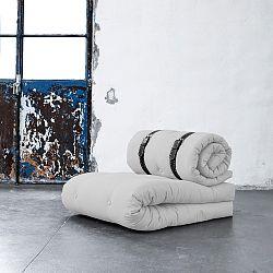 Variabilné kreslo s bielo prešívanými koženými popruhmi Karup Buckle Up Light Grey