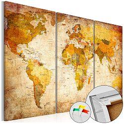 Viacdielna nástenka s mapou sveta Artgeist Antique Travel 120×80 cm