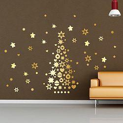 Vianočné samolepky Fanastick Golden Christmas Tree And Stars