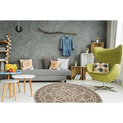 Vysokoodolný koberec Webtappeti Tondo Mink, ⌀ 194 cm