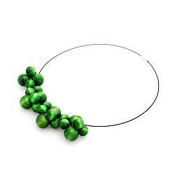 Zelený drevený náhrdelník Ko–ra–leBubbles