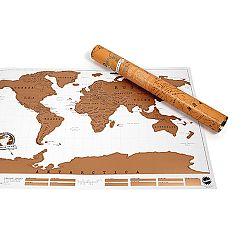 Zoškrabávacia nástenná mapa sveta s tubusom Ambiance Scratch Map